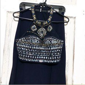 Crop top prom dress.